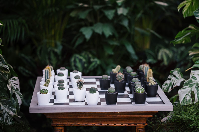 chess set on an outdoor table