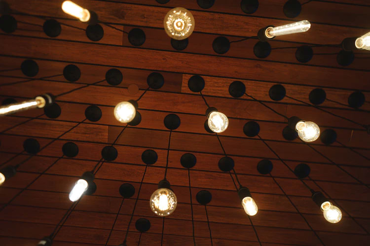 pendant lights viewed from below