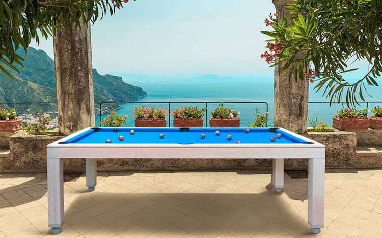 vision outdoor pool table on a terrace